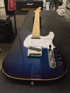 G&L ASAT Classic in Blueburst over swamp ash with wood binding, pearl pickguard, maple neck with vintage tint gloss finish G&l Guitars, Rare Guitars, Custom Guitars, Vintage Guitars, Acoustic Guitars, Fender Stratocaster, Telecaster Custom, Guitar Amp, Cool Guitar