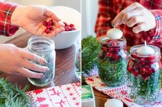 Create illuminating holiday jars with cranberries and floating candles.