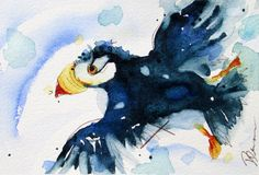 Original Watercolor Print of Puffin Colorful by RedbirdCottageArt, $20.00