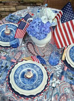 I'm at the table with Red, White and Liberty Blue in anticipation of Independence Day! It's hard to believe the of July is Tuesday. To celebrate America's birthday, I'm … Fourth Of July Decor, 4th Of July Decorations, 4th Of July Party, July 4th, Patriotic Party, Blue Table Settings, Beautiful Table Settings, Place Settings, Dresser La Table
