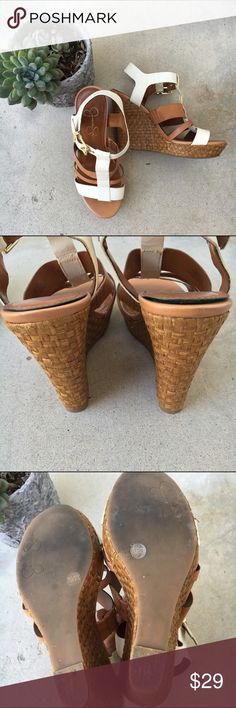 "Jessica Simpson Wedges Size: 7.5 Color: tan and white Condition: good (some separation as seen in pictures) Measurements: heel height: 5"" / platform: 1"" No hold or trade requests please🚫 Jessica Simpson Shoes Wedges"