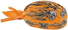 2014 Zan Headgear Motorcycle Riding Gear Orange Tribal Skull Flydanna Headwrap