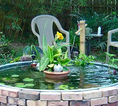 Superieur Stock Tank Pond And Water Garden! Great Aquatic Plants And The Pond Is  Surrounded By Bricks!