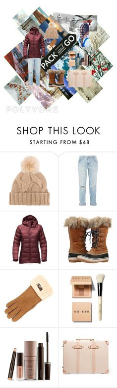 """""""#packandgo Contest Entry"""" by sodapop-curtis-is-bae ❤ liked on Polyvore featuring Loro Piana, Current/Elliott, The North Face, SOREL, UGG, Bobbi Brown Cosmetics, Laura Mercier, Globe-Trotter and Packandgo"""
