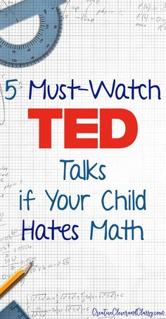 5 Must-Watch TED Talks if Your Child Hates Math Math can be one of the most frustrating subjects to teach! Math is used everywhere in our lives. Here are 5 must-watch TED talks for kids that hate math. Math For Kids, Fun Math, Math Activities, Math Math, Maths Resources, Math Tutor, Math Teacher, Math Classroom, Teaching Math