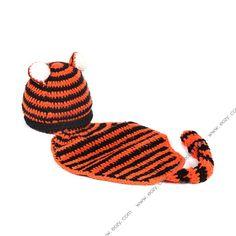 Baby Velvet Crochet Beanie Photography Tiger Hat Set