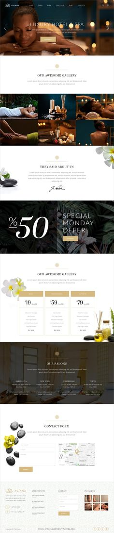 Aviana is clean, stylish and modern design responsive #WordPress theme for elegant #lifestyle, beauty #spa and #wellness centers website with 9+ niche homepage layouts  click on the image to download.