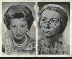 "Irene Ryan ,before and after costume on ""The Beverly Hillbillies"""