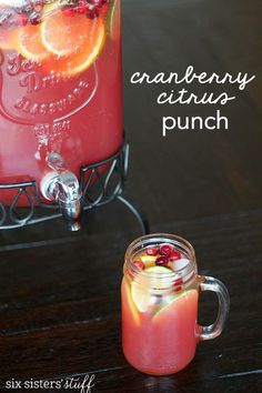 "I hate to admit it, but I am one of those people who ""drinks my calories."" I have never met a fruity beverage I didn't like! This Cranberry Citrus Party Punch is as beautiful as it is delicious!     P"