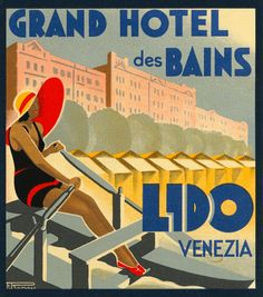 Like a mini vintage travel poster used to advertise a hotel and identify luggage or steamer trunks destined for Lido Venice Italy showing the beach...