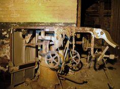 Inside Northampton State Lunatic Asylum-an abandoned lobotomy table.