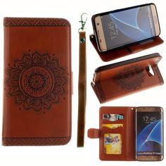 Shop4hoesjes.nl Javu - Samsung Galaxy S7 Edge Hoesje - Wallet Case Vintage Mandala Bruin | Shop4Hoesjes