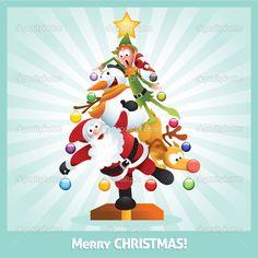 CHRISTMAS TREE SANTA, SNOWMAN, ELF AND REINDEER. CLIP ART