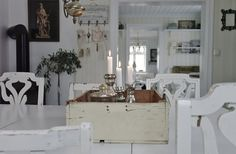Gorgeous country cottage interior with a wood stove in the kitchen. #white #wood