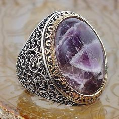 925 Sterling Silver Mens Ring with Amethyst Unique artisan jewelry