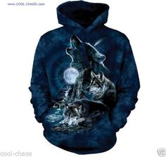 Midnight Blue Wolf Hoodie / Tie Dye Hoodie