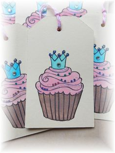 Cupcake ~ Queen/King ~ Happy Birthday Tags ~ set of 8 by HeartsCalling on ETSY