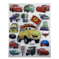 Large Cars Stickers - Disney Pixar Cars Lightning McQueen 3D Sticker Set (1 Sheet) by disney. $3.99. Can be applied to books, backpack, pencil boxes, or tables. Features stickers of varying sizes. These cool stickers can be applies anywhere and they feature the raceway king Lightning Mcqueen and his pit crew. large size sticker. Recommended for ages 3 and up. Brand new