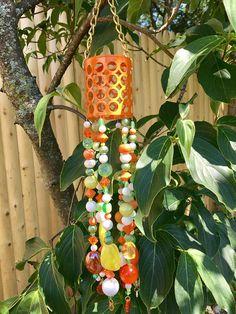 Orange Green Repurposed Jewelry Mobile, Sun Catcher, Upcycled Hanging Garden Art, Retro Hippie Home Decor, Wind Chimes, Window Decor, Gift