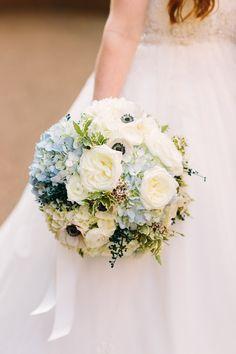 Blue and white hydrangea and anemone bridal bouquet // Nashville Wedding Flowers