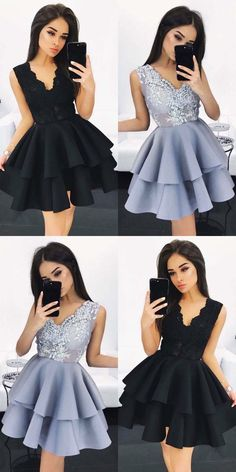 A-Line Homecoming Dresses,V-Neck Homecoming Dresses,Light Sky Blue Homecoming Dresses,Satin Homecoming Dresses,Appliques Homecoming Dresses,Tutu Dresses,Cute Homecoming Dresses,Homecoming Dresses 2017