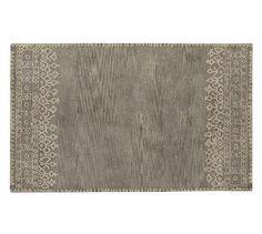 Desa Bordered Wool Rug, 10x14u0027, Gray