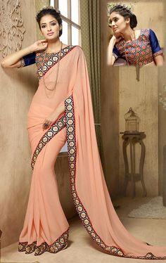 Picture of Alluring Dusty Orange Saree with Designer Blouse