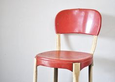 Red Kitchen Stool [thewhitepepper at Etsy]