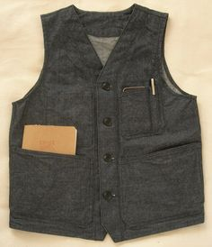 Denim Work Vest Corozo buttons hand made in USA by circleavintage