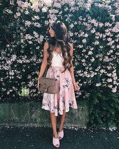 #fall #outfits pastel pink medium skirt