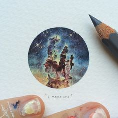 """INTRODUCING """"Potluck 100 Paintings for Ants""""! 100 miniature paintings scattered over 25 weeks in 2015. There will be four paintings done each week, and each day will have a theme: the first being """"Microcosm Mondays""""So this is day 1/25 Mondays : Pillars of Creation 