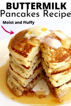 Classic Buttermilk Pancakes Classic Buttermilk Pancakes is a classic recipe that is moist and fluffy. You will never reach for boxed pancake mix again. Homemade Buttermilk Pancakes, Buttermilk Recipes, Breakfast Dishes, Brunch Recipes, Best Breakfast Recipes, Food Cakes, Cooking Recipes, Oven Recipes, Breakfast