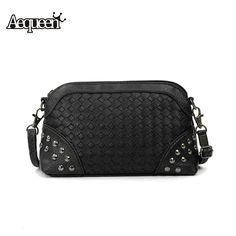 New Women Rivet Quilting Shoulder Bag Female Handbag Zipper Casual  PU Leather Small Ladies Messenger Bag Detachable Strap