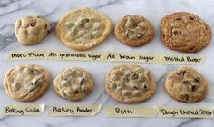 This guide will help when baking cookies. Certain ingredients will change the appearance of the cookie.