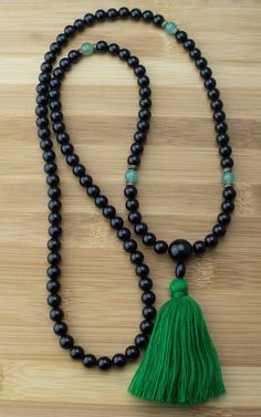 Mala Beads - Black Onyx Meditation Mala Beads With Green Aventurine