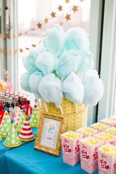 Carnival Carousel First Birthday Party. We love this cotton candy display.