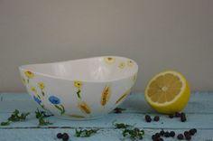 Misa ceramiczna kwiaty polne Handmade painted bowl