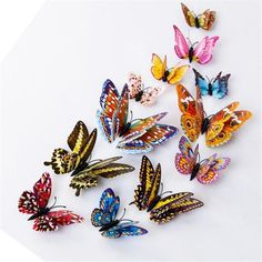 Kakuder vinilos decorativos para 12pcs 3D Wall Stickers Double Layer Luminous Butterflies Colorful Home decor #10 2017 Gift Drop