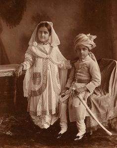 Portraits of prince and princesse, grandchildren of Sultan Jahan Begum of Bhopal, Toned platinum and gelatin silver prints, mounted, one with printed Gobind and Badri Narain credit on verso. Rare Photos, Vintage Photographs, Vintage Photos, Old Pictures, Old Photos, Belle Epoque, Royal Family Portrait, Royal Indian, King Fashion