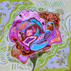 Rose16 x 16sold   Alma Art - Telamadera-fusion of wood, woodburning, paint and fabric-wonderful book she has-and I've gotten two pieces for my children underway using her technique