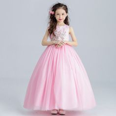 Flower girl long princess dress for weddings party summer for size 6 7 8 9  10 11 12 13 14 years child piano performance costumes-in Dresses from Mother  ... 8775a363092e