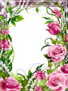 Transparent PNG Photo Frame with Pink Roses