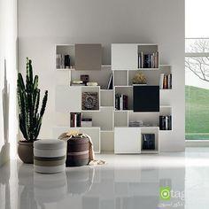 مدل قفسه کتاب با طراحی مدرن مناسب اتاق نشیمن و اتاق خواب