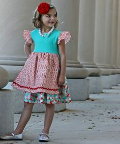 Another great find on #zulily! Red & Aqua Angel-Sleeve Apron Dress - Infant, Toddler & Girls #zulilyfinds