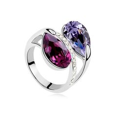 [$8.63] Austrian Crystal Ring - Forever (Colour: Purple)