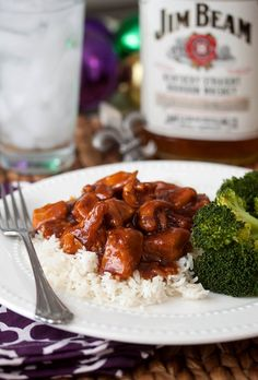Bourbon Chicken Stew - Boneless Breast, Ginger, Red Pepper, Apple Juice, Brown Sugar, Ketsup, Vinegar, Bourbon, Soy Sauce