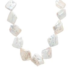 Pearl Lustre Coin Shape Keshi Pearl Necklace with 14K Yellow Gold Clasp