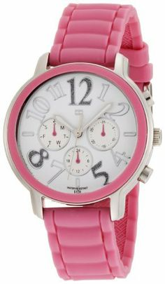 Tommy Hilfiger Women's 1780957 Pink Silicon Stainless Steel Sport Watch Tommy Hilfiger. $115.00. Round stainless steel pink silicon strap watch, textured white dial with crystal detail. Case diameter: 30 mm. Water-resistant to 165 feet (50 M). White dial with silver Arabic numerals and sub dial, day and date feature. Quartz movement