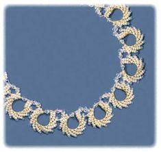 Wedding Lace Necklace Pattern Sandra D Halpenny. I started this one but I don't know if it's right for my wedding - I'll have a cool piece either way though! Bead Jewellery, Beaded Jewelry, Handmade Jewelry, Lace Necklace, Circle Necklace, Wedding Lace, Lace Weddings, Necklace Tutorial, Fabric Beads