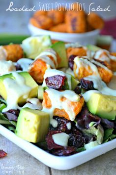 Loaded Sweet Potato Tot Salad with Creamy Avocado Ranch Dressing
